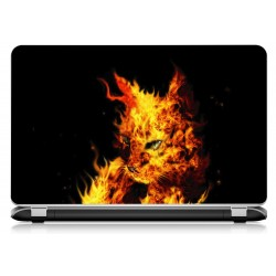 Stickers Autocollants ordinateur portable PC chat flamme