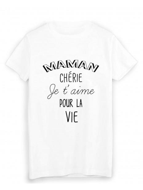 T-Shirt citation maman chérie je t'aime fête des mères