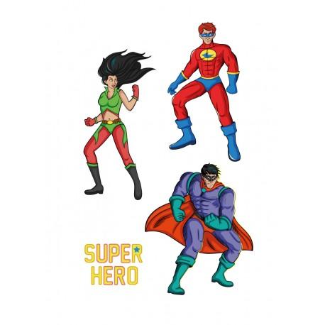 Stickers Autocollants enfant déco Planche A3 super héros réf 103