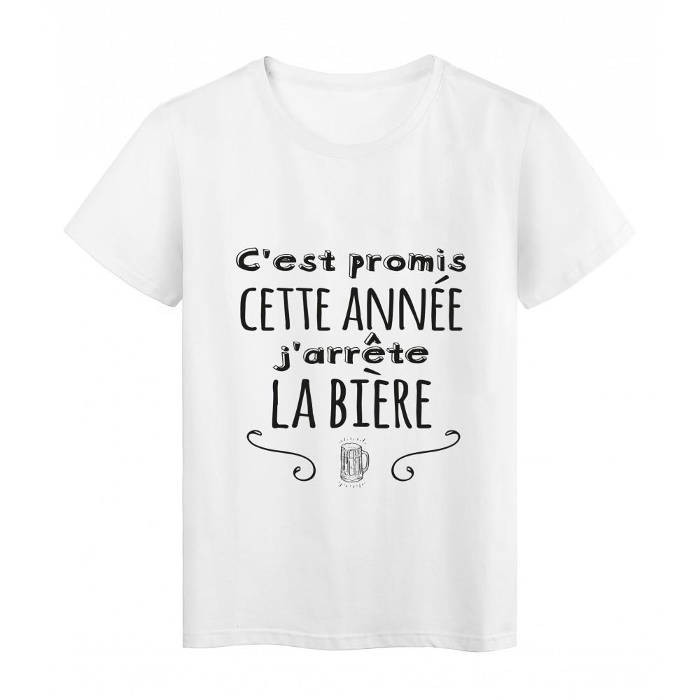 T-Shirt imprimé citation humour C'est promis cette année j'arrete la biere