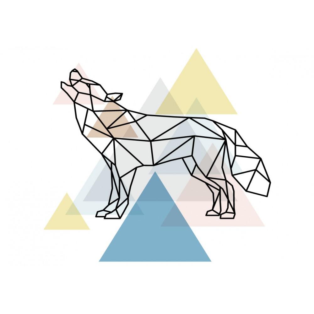 Stickers Autocollants enfant déco loup scandinave